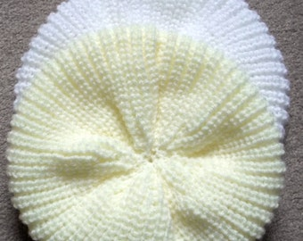 FIVER FRIDAY! Hand knit babies beret fishermans rib various colours