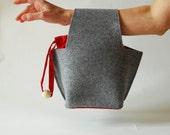 Gray handbag felt and silk  – geometric shape - modern handbag