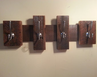 "27"" Rustic Coat Rack With Black Coat and Hat Hooks...Reclaimed Barn Wood Coat or Towel Rack With Metal Hooks"