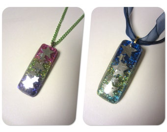 Starry Resin Pendant Necklace