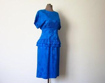 Silk Peplum Dress Vintage 1980s Blue Silk Dress Floral Pattern Women's Medium / Large