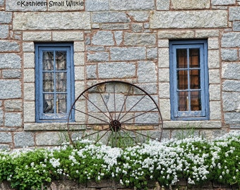 Blue Windows Old Stone Building Connecticut White Flowers Old Architecture Metal