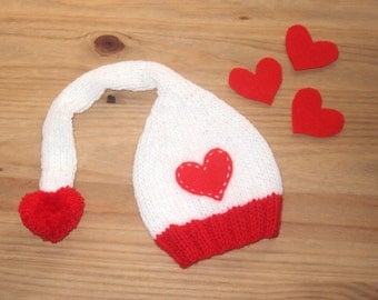 Toddler Valentine Hat with heart pompom - Elf hat with long tail - Handknitted