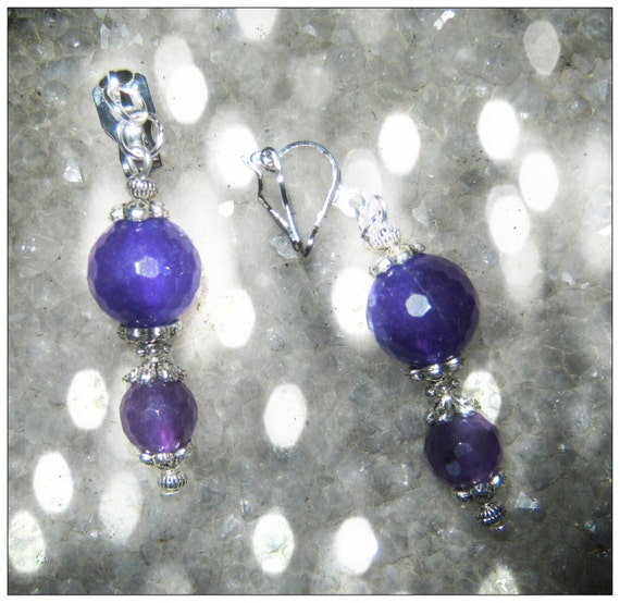 Handmade Silver Clip-On Earrings with Facetted Amethyst by IreneDesign2011