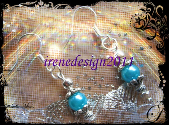 Silver Hook Earrings with Turquoise Pearls