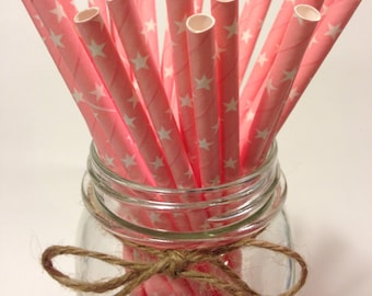 25 Solid Light Pink Star Paper Straws / baby bridal shower decorations / candy dessert buffet table/ wedding /First birthday /new year party