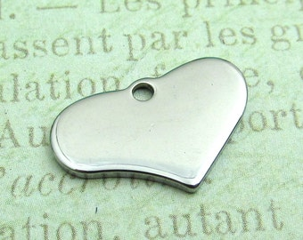 Heart Tag, Stainless Steel Heart Pendant, Set of 5 Silver Heart 19x12x1.4mm Medium Heart Charm Stampable Heart (049)