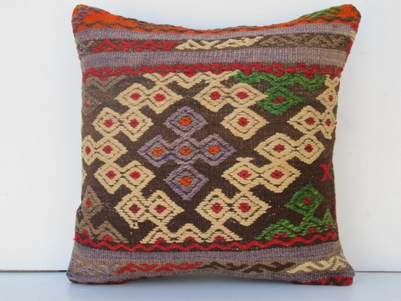 "Modern Bohemian Home Decor,Turkish Kilim embroideryPillow Cover 16""x16"""