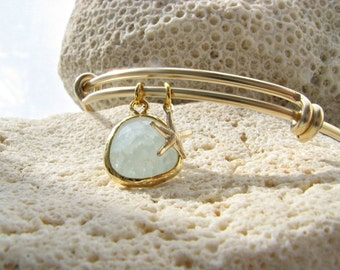 14k Gold Starfish Bangle with Alice Blue Gemstone Light Blue Bangle starfish jewelry starfish bracelet Beach Wedding alice blue jewelry gift