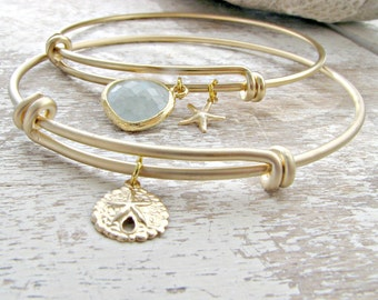 14k Gold Starfish Sand Dollar Bangle Alice Blue bangle Set Pastel Blue Bracelet sand dollar jewelry starfish Bridesmaid Set Beach Wedding