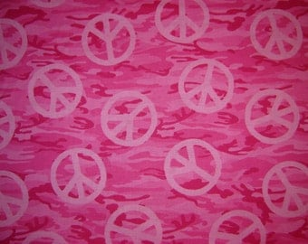 Per yard, Camouflage peace sign fabric pink camo