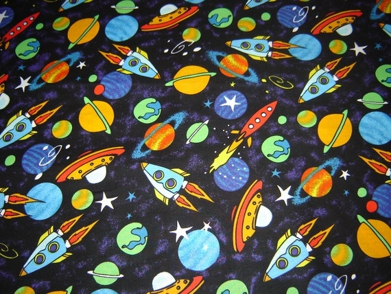 1 yard 20 bolt end my space fabric planets rocket for Space baby fabric