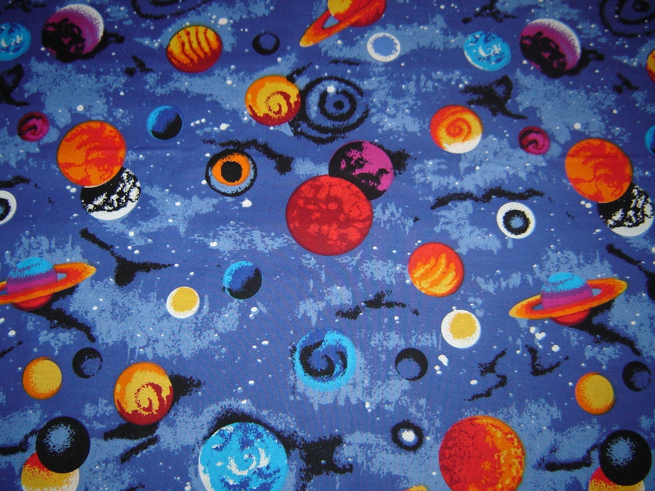 per yard universe and planets fabric