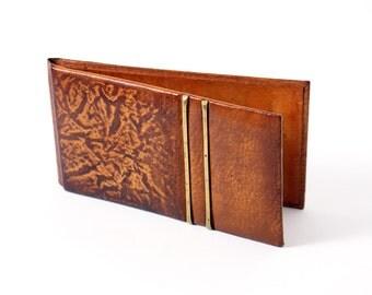 Vintage brown leather folder, vintage office decor