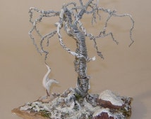 Wire Tree Sculpture - Oak Tree In Winter - 3D Winter Tree White Crane Landscape Scenery - Snow Covered Forest With Tree - Miniature