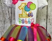 Baby girls 1st Candyland Lollipop Birthday Satin ribbon trim tutu outfit