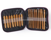 20 Pieces Bamboo Crochet Hooks Knitting Needles Set with Case / from 1 mm to 10 mm / 20 individual bamboo crochet hooks / With portable case