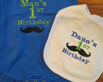 Custom Mustache First Birthday Outfit