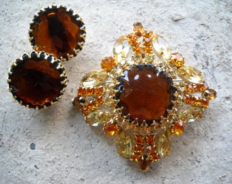 Multicolored Amber Rhinestone Brooch & Earrings Set Item W-#6
