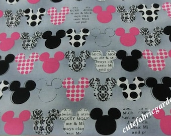 Cotton Fabric - 1 Meter Animal Cartoon Fabric - Animals - Mickey Mouse - Minne Mouse - Cute Kids Fabric - Gray (W150cm )