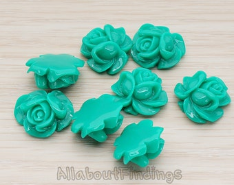 CBC214-01-GR // Green Colored Full Bloom Rose Flower Flat Back Cabochon, 4 Pc