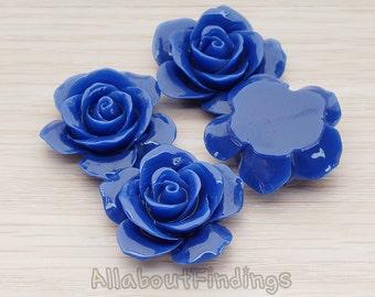 CBC189-DB // Dark Blue Colored Rose Flower Flat Back Cabochon, 2 Pc