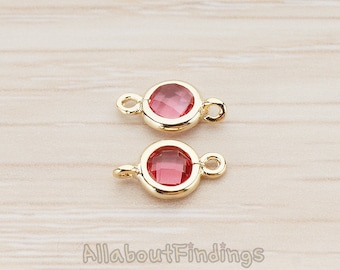 FST127-G-RU // Glossy Gold Plated Round Framed Ruby Stone Connector, 2 Pc