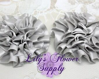 Satin Petti Puff - SET of 3 - Gray - Satin Flower - Puff Flower  - Rosettes - Satin rosettes - Rolled Rosettes - Wholesale - Supply