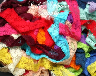 Grab bag Stretch Lace Elastic - Grab bab - 1 Inch Stretch Lace - Lace for Headbands - Wholesale Headbands