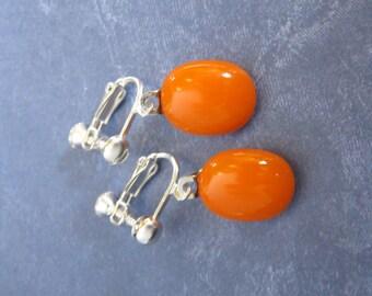 Bright Orange Clip On Earrings, Dangle Clip Earring, Screw Back, Halloween Earring, Fused Glass Jewelry - Wilson - 2175 -1
