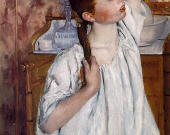 """Mary Cassatt, Girl Arranging Her Hair, 1886. 11x14"""" Cotton Canvas Print"""