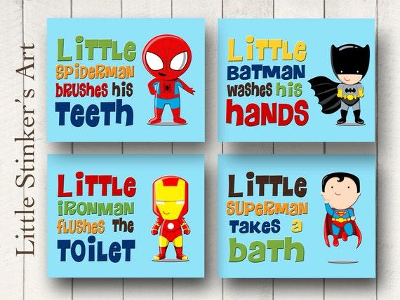 Items similar to superhero wall art bathroom decor boy 39 s wall art digital print on etsy - Marvel superhero bathroom accessories ...