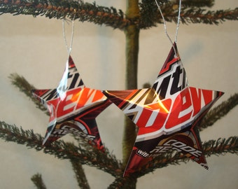 Recycled Soda Can Aluminum Stars - Set of 2 Mountain Dew Code Red Christmas Ornaments For The Soda Drinker And Video Game Player