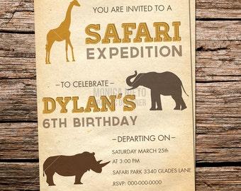 Safari Expedition / Zoo themed Birthday Invitation