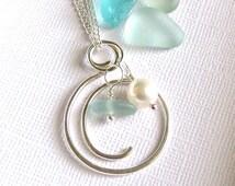 O Sea Glass Necklace Silver Circle Pendant Seaglass Jewelry Garden Leaf Seaside