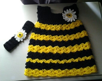 Crochet baby bumblebee dress and headband, toddler bumblebee dress, black & yellow with daisy, bumble bee outfit, spring or summer dress set