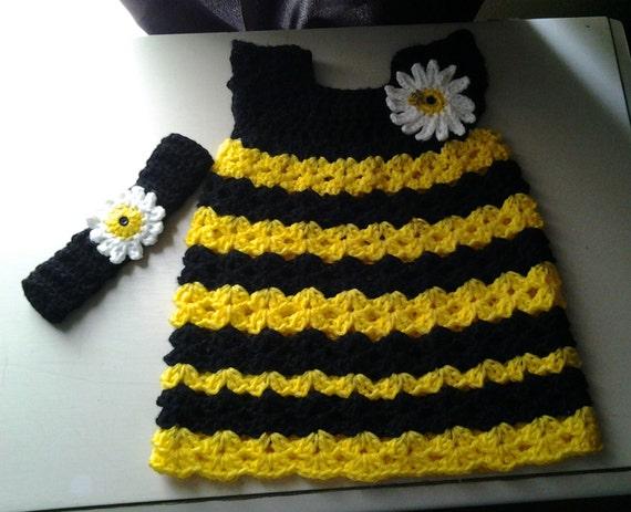 Crochet Baby Bumblebee Dress And Headband Toddler Bumblebee