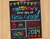 First Day of School Sign - First Day of School Chalkboard Printable Photo Prop - Personalized Back to School Sign Blue - ANY GRADE  Any size