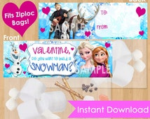 Frozen Valentine Printable - INSTANT DOWNLOAD Disney Frozen Valentine Bag Topper Frozen Valentine's Printable Do You Want to Build a Snowman