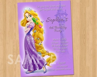 Tangled Birthday Invitation - Rapunzel Tangled Invitation- Tangled Party Invites - Tangled Birthday Party Printable Rapunzel Party Ideas