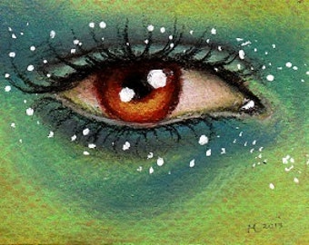 Orginal ACEO eye drawing 'The Coconut'