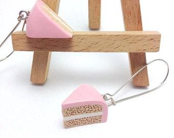 Strawberry Cake Earrings, Mini Cake Polymer Clay Earrings, Polymer Clay  Miniature Food Dangle Earrings, Mini Food Cake Jewelry