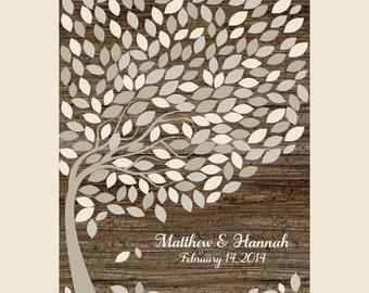 Wedding Leaf Guest Book Tree Print, Wedding Signature, Guest Book Wedding, Guestbook Alternative, Rustic Wood Look 200 Guests