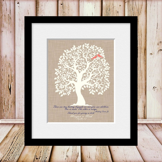 Creative Wedding Gifts For Parents : Unique Wedding Day Gift for Our Parents, Thank You For Giving Us ROOTS ...