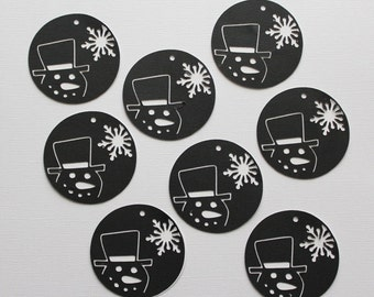 8 Snowmen Gift Tags / Die Cut / Gift Giving / Christmas / Snowmen / Holiday Gift Tags / Scrapbooking / Card Making