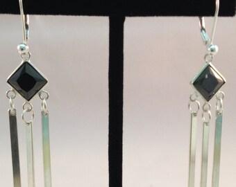 Sterling silver dangle black crystal earring