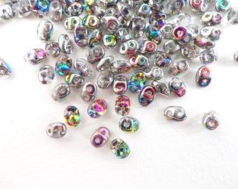 10gr x 2.5x5mm Czech Glass Beads, Clear Vitrail Superduo Glass Beads, 2 holed Beads, Rainbow Glass Beads SPD0002