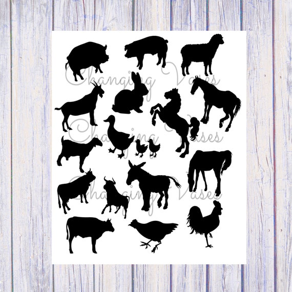 Instant Download Printable Farm Animal Silhouettes Clipart