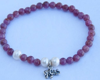 Ruby the Elephant Stackables - rubies, freshwater pearls and sterling silver