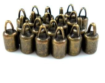 4MM End Cap, TWENTY Bronze Caps for Leather or Cord (CAP4-004)